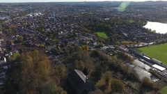 Aerial vorbit of a beautiful Anglican Church. Stock Footage
