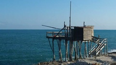 Trabucco or trabocco at sea Italy Stock Footage