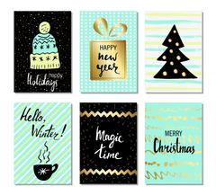 Christmas and Happy New Year greeting cards with calligraphy. Cute Hand drawn Stock Illustration
