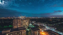 Toronto City Skyline Night Long Exposure Cloudlapse North View Looking South Stock Footage