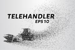 Telehandler of the particles. Telehandler crumbles into small circles and dot Stock Illustration