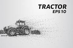 Tractor of the particles. The tractor breaks down into small circles and dots Stock Illustration