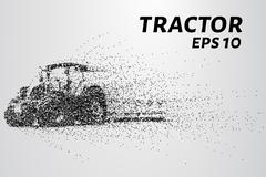 Tractor of the particles. The tractor consists of small dots and circles. Stock Illustration
