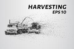Harvesting of the particles. The harvest consists of small dots and circles. Stock Illustration