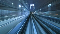 4K Time lapse of automatic train moving to tunnel, Tokyo, Japan Stock Footage