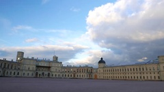 Great Gatchina palace and parade ground, empty square at evening time Stock Footage