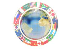 International global communication concept with earth, 3D rendering Stock Illustration