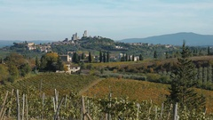 San Gimignano medieval town seen from he Tuscany hills, Italy Stock Footage