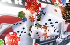 Casino Gambling Illustration 3D Render. Casino Chips, Dices and Slot Machine Piirros