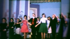 Teen High School Actors Kids Broadway Play Singing Vintage Film Home Movie  Stock Footage