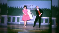 Actors Dance On Stage Play Musical Comedy 1960s Vintage Film Home Movie  Stock Footage