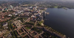 Aerial view of Almere City, The Netherlands Stock Footage