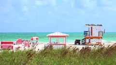 Walkway to famous South Beach. Stock Footage