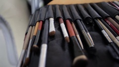 Big brush set for make-up Stock Footage