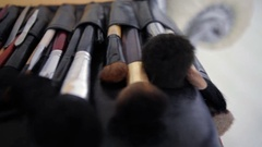 Professional brush set for make-up Stock Footage