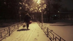 Snowing is in the park at night Stock Footage