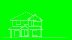 Continuous line drawing of residential house on green background Stock Footage