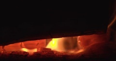 Slow motion logs on fire Stock Footage