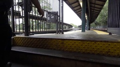 Man Walking Up Stairs To Sheepshead Bay Subway Station Brooklyn in 1080 HD NYC Stock Footage