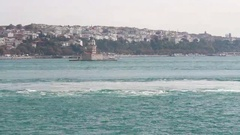 Maiden's tower view sea trip Stock Footage