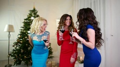 New Year's party a group of girls near the Christmas tree, drink alcohol from of Stock Footage