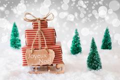 Sleigh On White Background, Joyeux Noel Means Merry Christmas Stock Photos