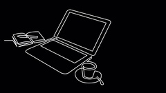 Continuous line drawing of laptop computer coffee Stock Footage