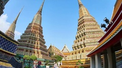 View of the Wat Pho temple in Bangkok Stock Footage