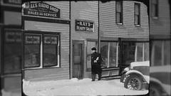 Man Walks Down Main Street Small Town USA 1930s Vintage Film Home Movie  Stock Footage