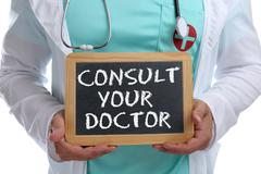 Ask consult your doctor young ill illness healthy health check-up screening Stock Photos
