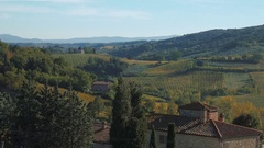 Panorama of San Gimignano and Tuscany hills, Italy Stock Footage