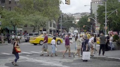 Busy Crosswalk On Christopher Street And 6th Ave In Summer Manhattan 4K NYC Stock Footage