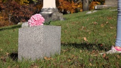 Pink flowers laid on grave head stone 4k Stock Footage