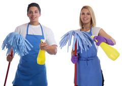 Cleaning lady person service cleaner woman man job occupation young people is Stock Photos