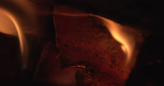 Dancing flames in a wood stove Stock Footage