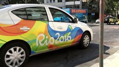 Official Rio 2016 car in downtown of the city 4k Stock Footage