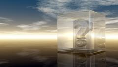 Question mark in glass cube under cloudy sky - 3d rendering Stock Illustration