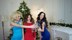 Christmas party, girls drinking wine, dancing having fun, group of people Stock Footage