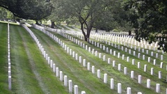 Arlington National Cemetery, headstones in a row Stock Footage