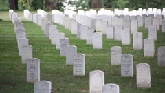 Arlington National Cemetery, people walking in front of headstones in the shade Stock Footage