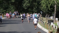 Tourists and visitors at the Arlington National Cemetery Stock Footage