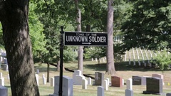 Tomb of the Uknown Soldier sign, Arlington National Cemetery Stock Footage