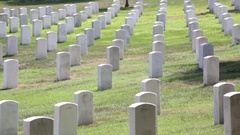 Headstones and graves at the Arlington National Cemetery Stock Footage