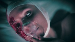 4k Hospital Shot of Injured Blind Woman Putting Oxygen Mask on, colour corrected Stock Footage