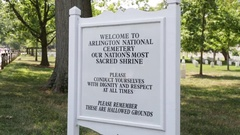 Welcome sign at the Arlington National Cemetery Stock Footage