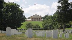 Arlington House with tombstones at the Arlington National Cemetary Stock Footage
