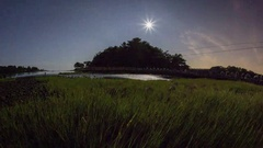 Tides: Atlantic, Rising Tide with Trees and Moon Stock Footage