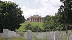 Arlington House with headstones at the Arlington National Cemetary Stock Footage