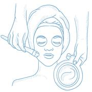 Woman in beauty salon during cosmetology procedure Stock Illustration
