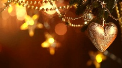 Christmas and New Year decoration. Blinking garland. Christmas tree lights. Stock Footage